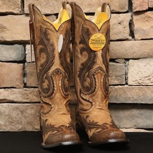 Corral Square Toe Overlay & Studs Cowgirl Boot